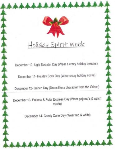 Holiday Spirit Week !