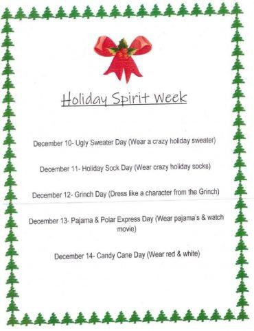 Holiday Spirit Week !