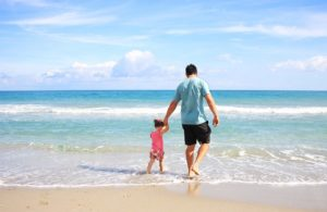 father, daughter, beach